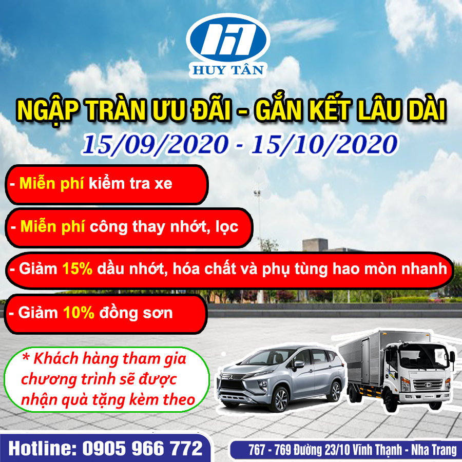 Chiến dịch CSKH tháng 9/2020 tại ô tô Huy Tân