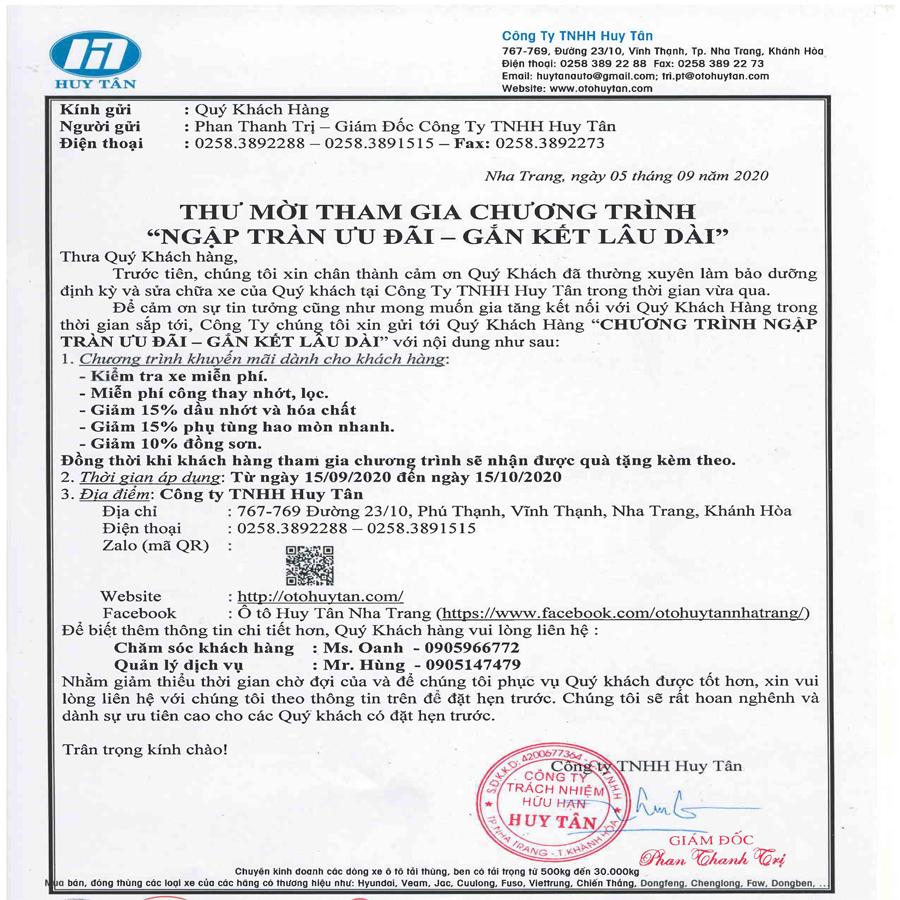 Thư mời khách hàng tham gia chương trình CSKH tháng 9/2020 tại ô tô Huy Tân