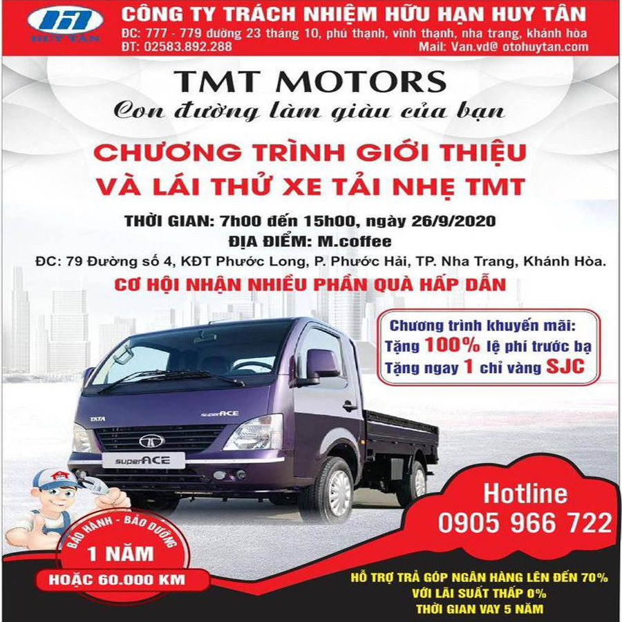 Chương trình giới thiệu và lái thử xe tải nhẹ TMT
